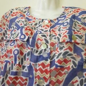 Ruby Rd. Tops - Ruby RD. Top Blouse Pink Blue Size 8 Button Down
